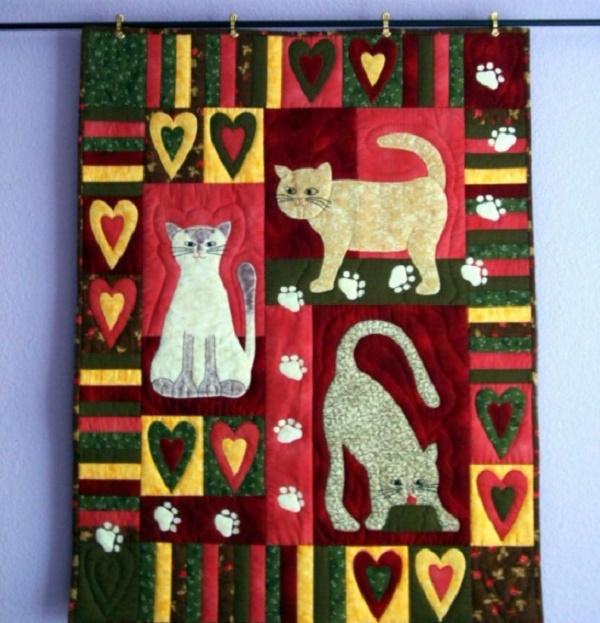 лоскутные одеяла с кошками 11 (600x623, 363Kb)