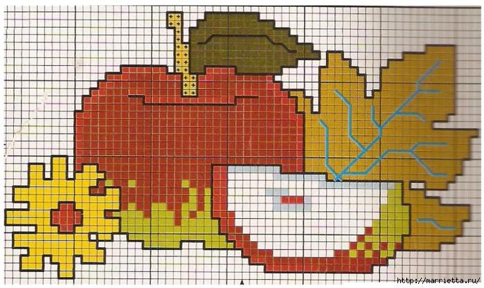 Фрукты на полотенце. Схема вышивки крестом (2) (700x416, 301Kb)
