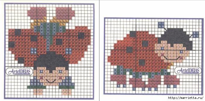 Фартук с божьими коровками. Схемы вышивки крестом (3) (700x345, 206Kb)