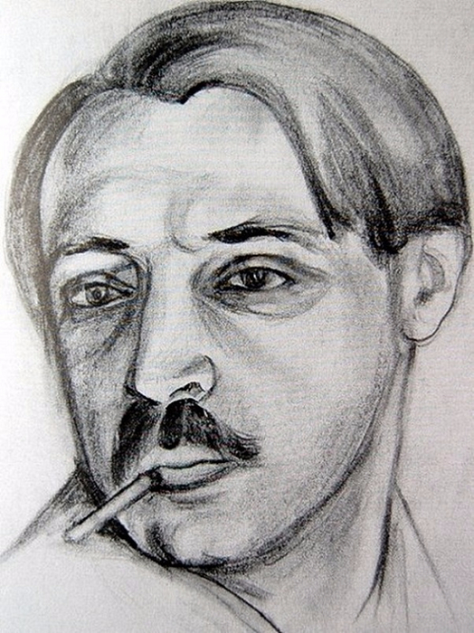 Avtoportret, ok.1920g.bum.kar.-akv.  ����������� �� ������� �. ���������� ��.1920�.���.���. ��� (524x700, 389Kb)