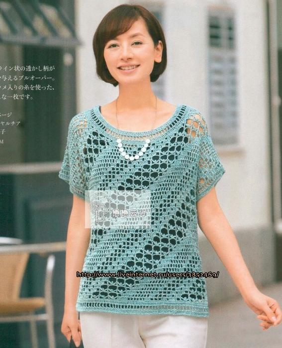 Летний пуловер, 2 связанный  диагональным узором (567x700, 301Kb)