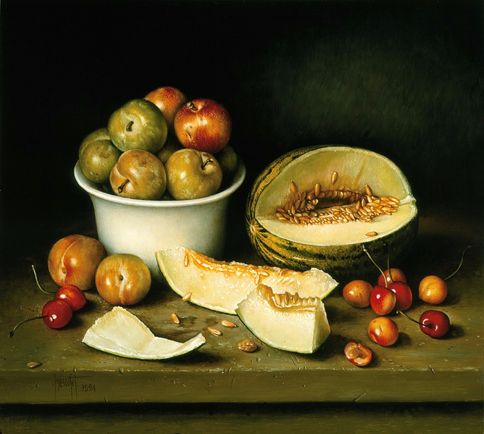 WHITE BOWL OF PLUMS AND MELON 41x46 cms Oil on canvas 1994 (700x626, 421Kb)