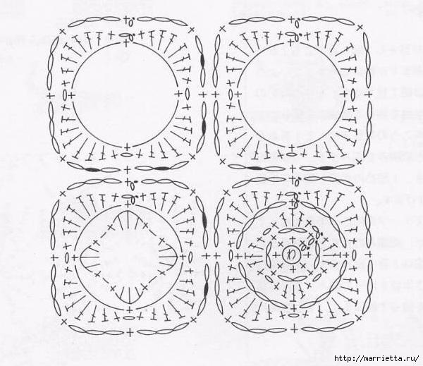 Две круглые сидушки крючком. Схемы (3) (600x519, 186Kb)