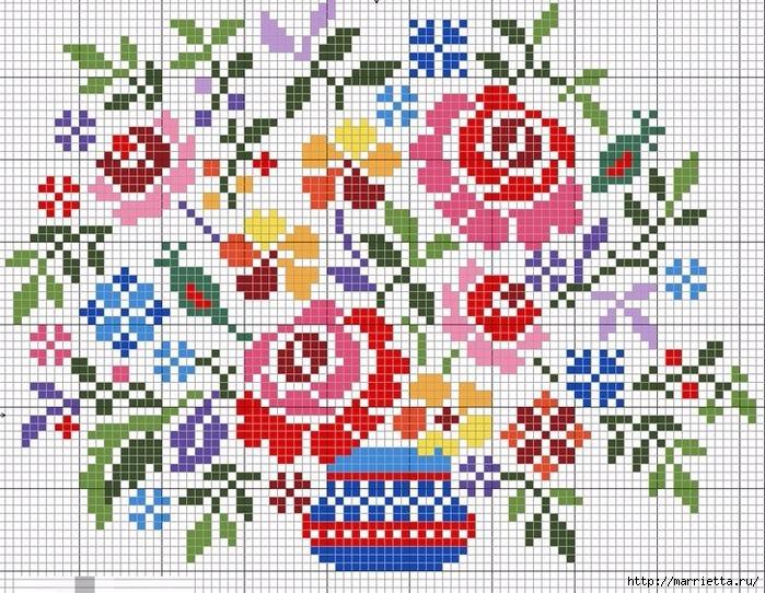Украшаем настольную лампу цветочной вышивкой. Схема (2) (700x542, 421Kb)