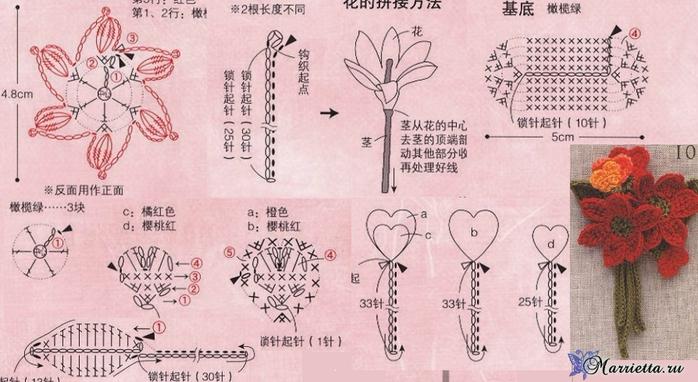 Миниатюрные букетики цветов крючком. Схемы (4) (700x382, 297Kb)