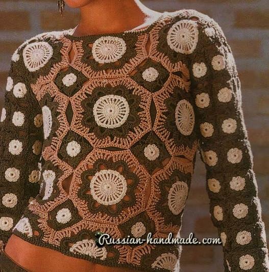 Блуза в коричневых оттенках ажурными мотивами крючком  (2) (527x534, 384Kb)