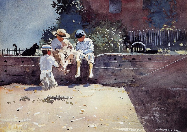 Boys and Kitten, 1873 (647x458, 398Kb)