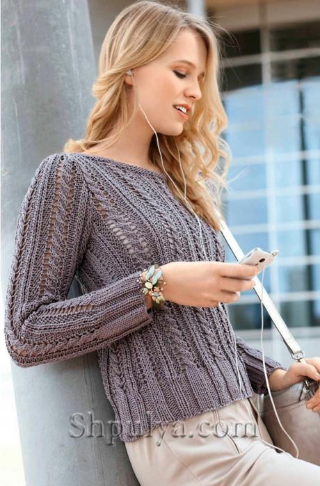 Вязаные пуловеры с косами