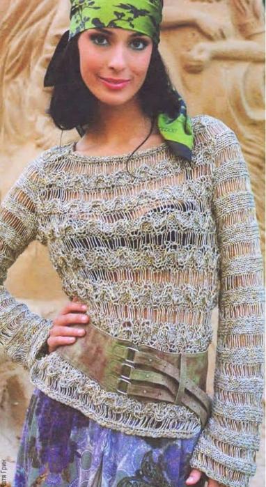 Letnij-pulover-iz-melanzhevoj-pryazhi-s-raspushhennymi-petlyami (382x700, 341Kb)