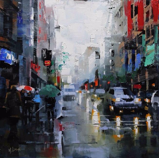 Mark Lague St. Catherine Street Rain (653x649, 481Kb)