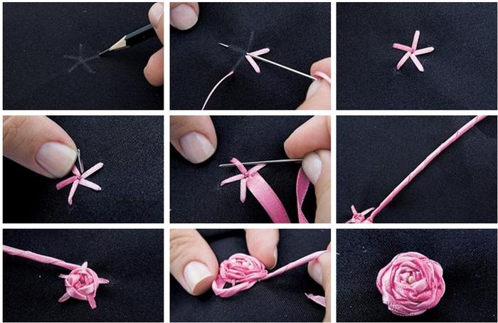 Как сделать из ленточек цветы