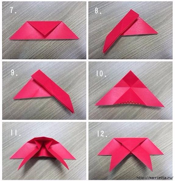 Бабочки из бумаги в технике оригами. 4 способа (4) (574x593, 251Kb)