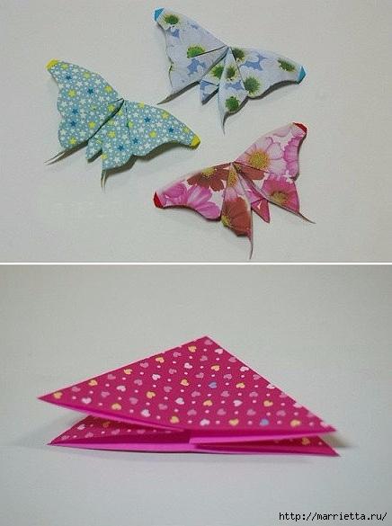 Бабочки из бумаги в технике оригами. 4 способа (10) (436x585, 133Kb)