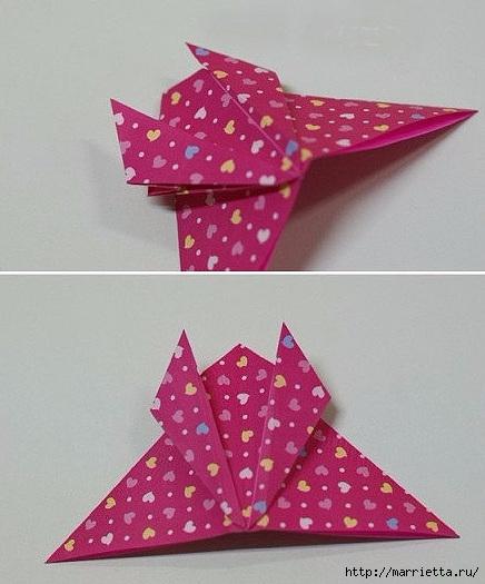 Бабочки из бумаги в технике оригами. 4 способа (14) (436x525, 131Kb)