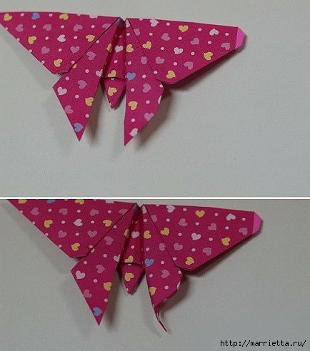 Бабочки из бумаги в технике оригами. 4 способа (24) (434x492, 118Kb)