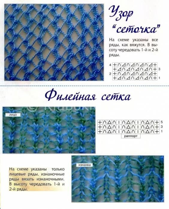 Как связать спицами узор сетки
