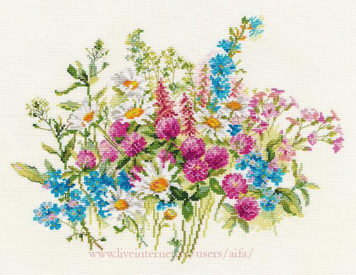 Вышивка луговые цветы схема