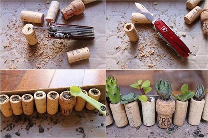 Гениальные миниатюрные кашпо для маленьких растений из винных пробок