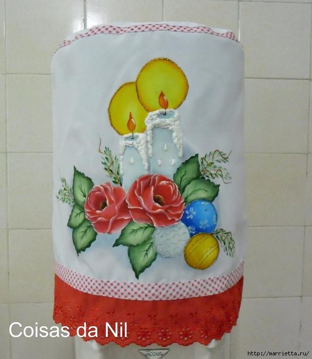 Новогодняя роспись ткани. Шаблон для скатерти или салфеток (3) (608x700, 273Kb)