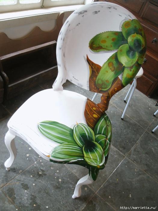 Декупаж и роспись старого стула. Идеи (98) (525x700, 275Kb)