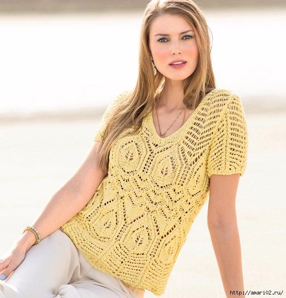 Ажурный пуловер спицами(580x604, 183Kb)