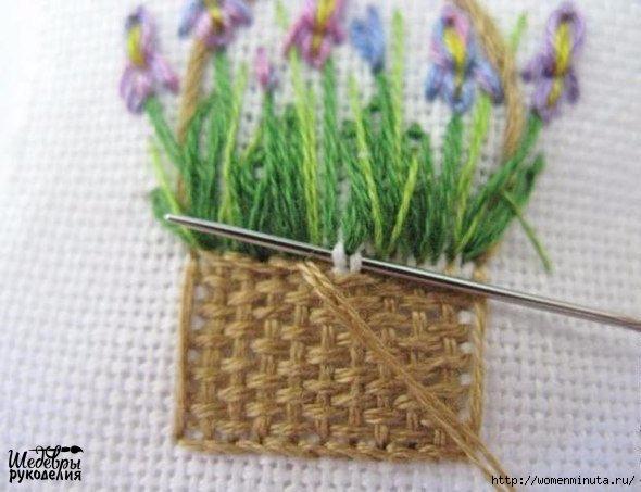 Вышивка корзинки с цветами(590x453, 142Kb)