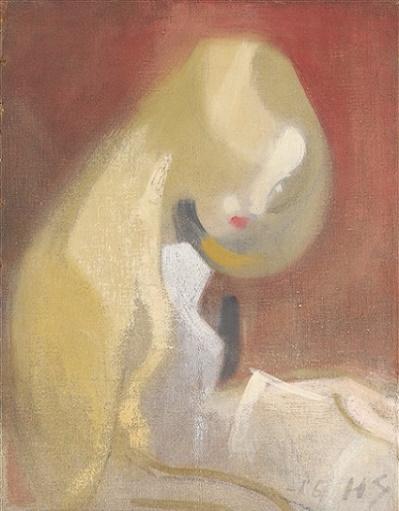 GIRL WITH BLONDE HAIR. Vaaleatukkainen tyttö, 1916, öljy kankaalle (399x511, 178Kb)