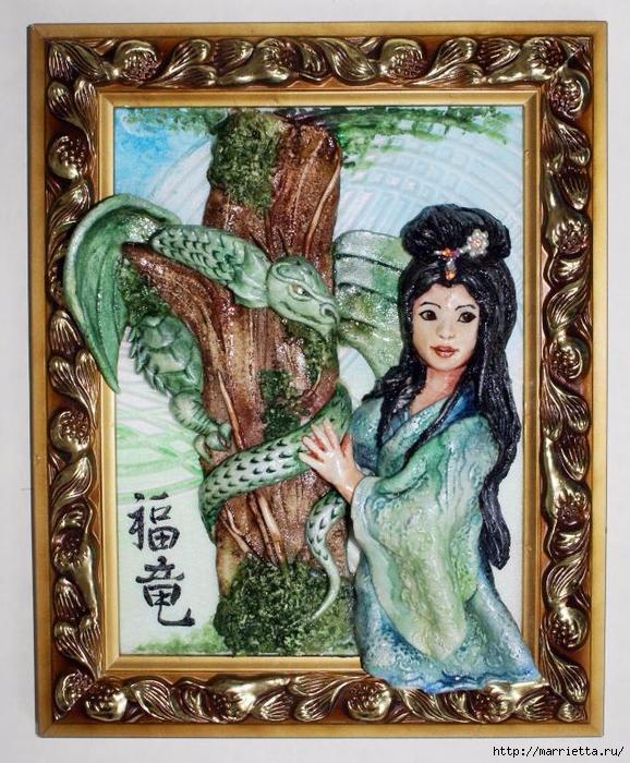 Картина из соленого теста Японка и дракон. Мастер-класс (26) (578x700, 391Kb)