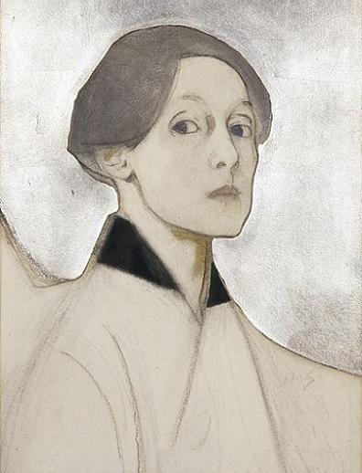 Автопортрет с серебряным фоном, 1915 (396x518, 73Kb)