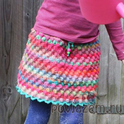 Вязаная юбка крючком для девочки 7 лет