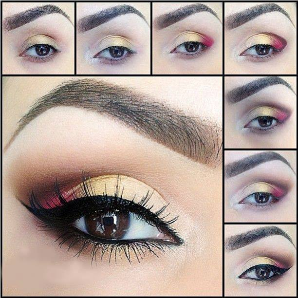 Golded-and-Red-Eye-Makeup-Tutorial (612x612, 333Kb)