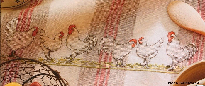 Курочки на скатерти и салфетке. Схемы вышивки крестом (1) (700x295, 231Kb)