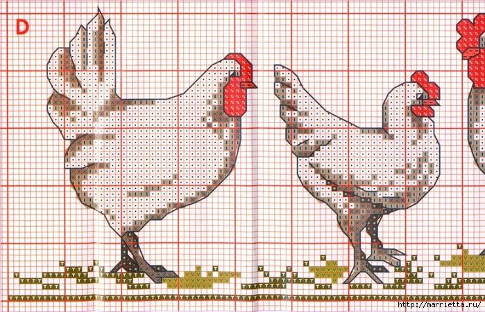 Курочки на скатерти и салфетке. Схемы вышивки крестом (4) (700x451, 370Kb)
