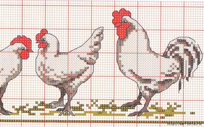 Курочки на скатерти и салфетке. Схемы вышивки крестом (5) (700x434, 347Kb)