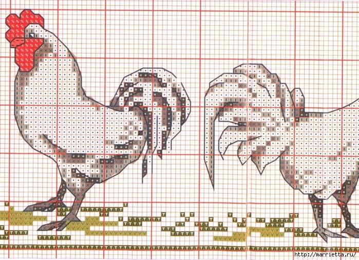 Курочки на скатерти и салфетке. Схемы вышивки крестом (6) (700x506, 398Kb)