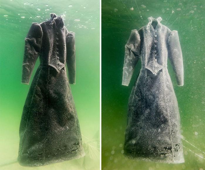 Платье поместили в Мёртвое море на два года и получили кристальный шедевр