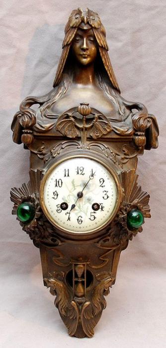Бронзовый Art Nouveau часы Подпись Flamond (334x700, 249Kb)