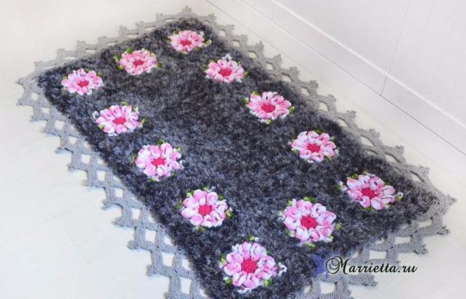 Цветочный коврик крючком из пряжи травка (4) (661x424, 262Kb)