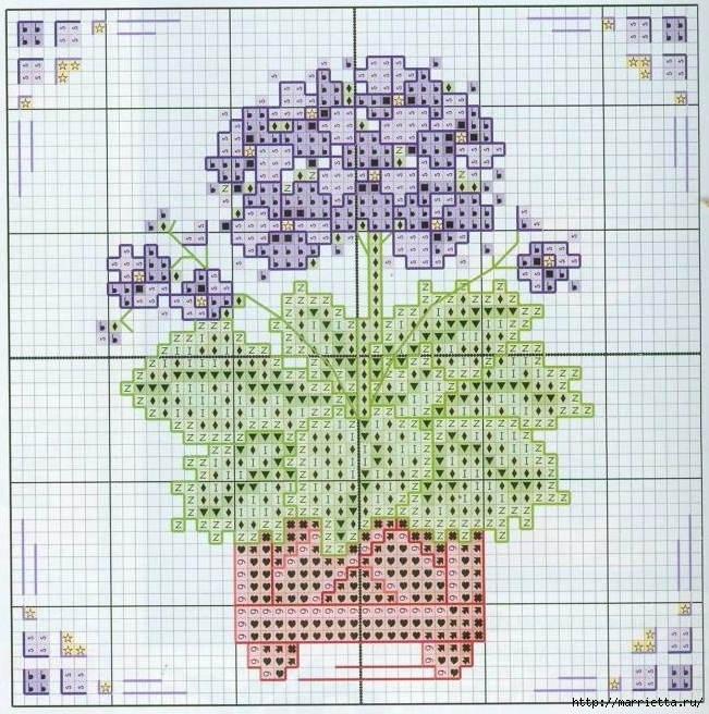 Схемы миниатюрной вышивки. ЦВЕТЫ (7) (651x656, 362Kb)