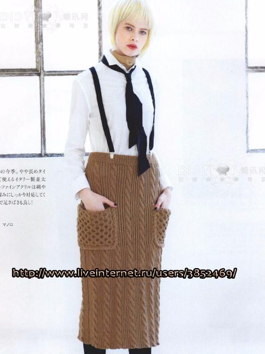 Тёплая юбка узором из кос (525x700, 285Kb)