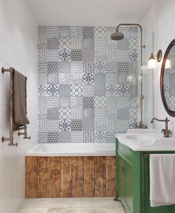 Пэчворк в интерьере ванной фото