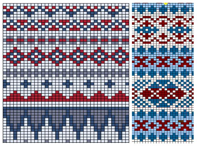 Жаккардовые узоры для норвежских свитеров - схемы 1 (639x473, 554Kb)