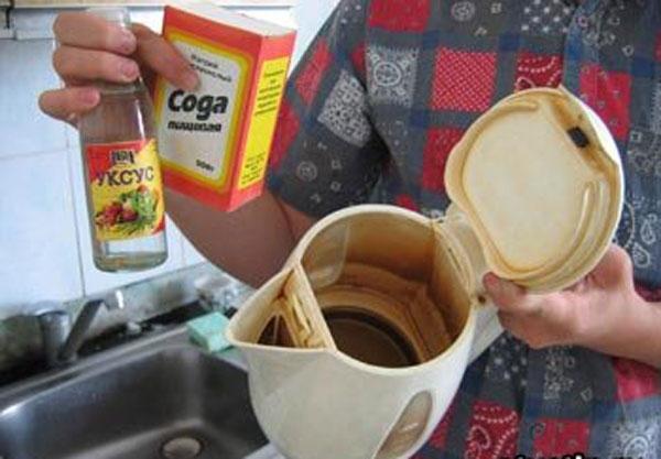 как удалить накипь в чайнике уксусом