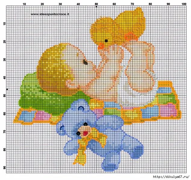 Схемы вышивки с малышом или малышами