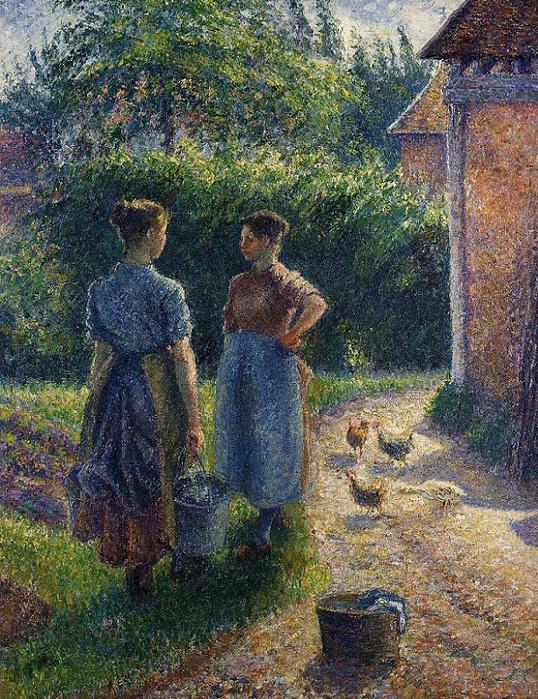 """Крестьянки беседующие во дворе, Эраньи (Paysannes causant dans la cour d""""une ferme, Eragny), 1902 (538x700, 593Kb)"""
