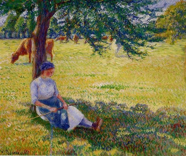 Пастушка в Эраньи (Cowgirl, Eragny), 1887 (640x537, 545Kb)