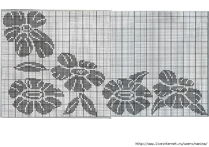 Рисунок цветка для вязания спицами 677