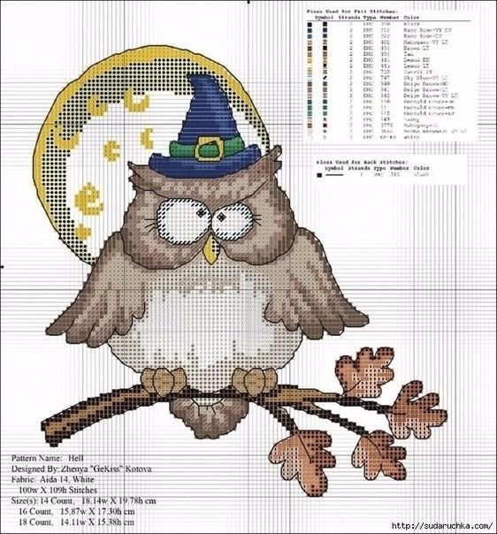 Вышивки совы (2) (562x604, 349Kb)
