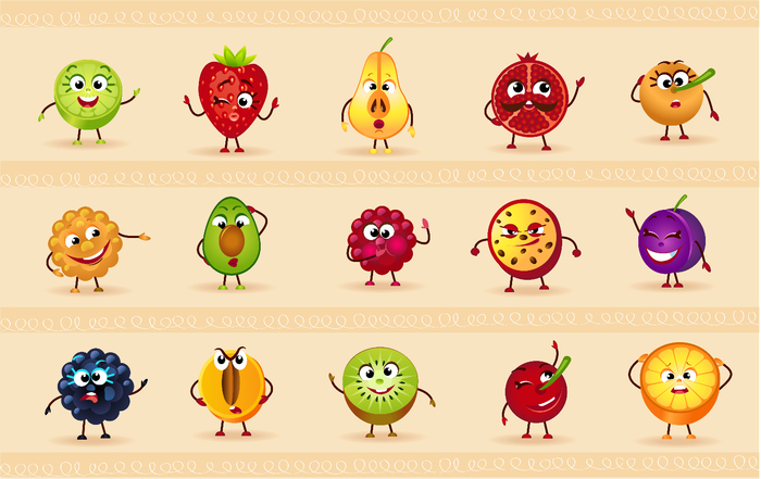 funny icons of fruits (700x441, 290Kb)