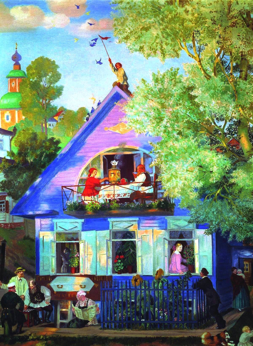 Голубой домик - Борис Михайлович Кустодиев. 1920. Холст, масло (511x700, 575Kb)